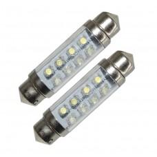 Spollampa 42mm, 8 LEDs, 12V - Röd