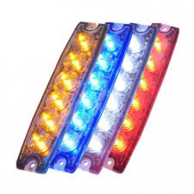 Blixtljus Superslim med 6 LED E-märkt E6 R10 (Xenonvit, 3m kabel)