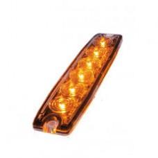 Blixtljus Superslim med 6 LED E-märkt E6 R10 (Orange, 3m kabel)