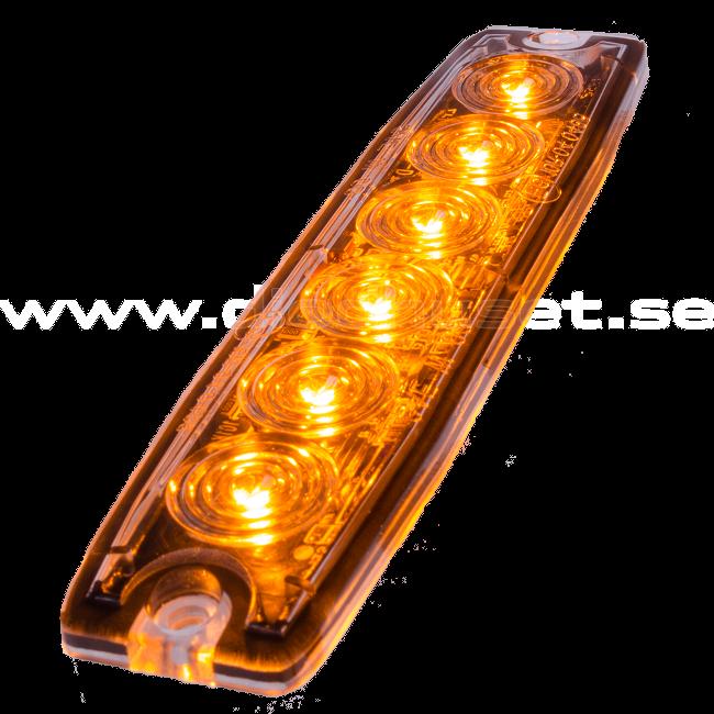 Supertunt blixtljus, 6 LED E-märkt - - Orange