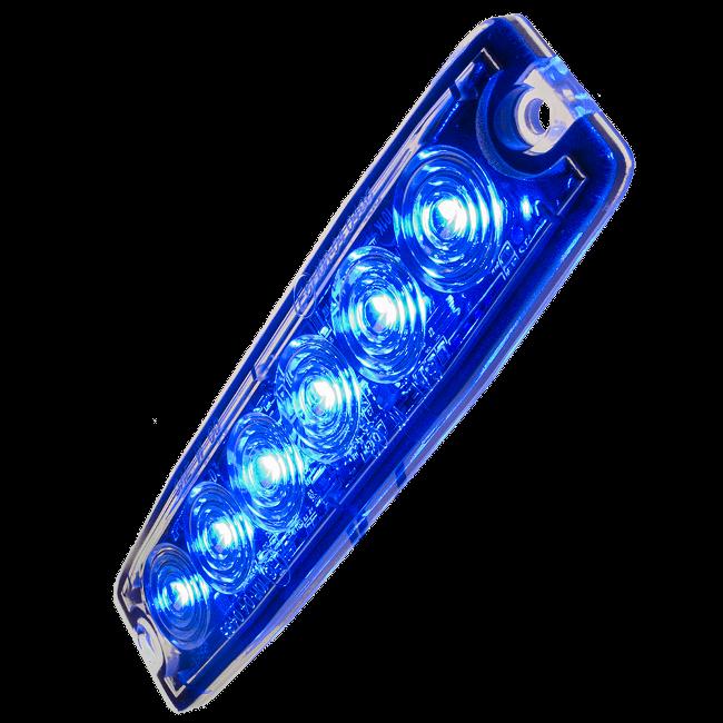 Blixtljus Superslim med 6 LED E-märkt E6 R10 (Blå, 3m kabel)