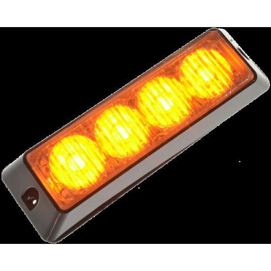 Blixtljus 4 LED orange 12-24V